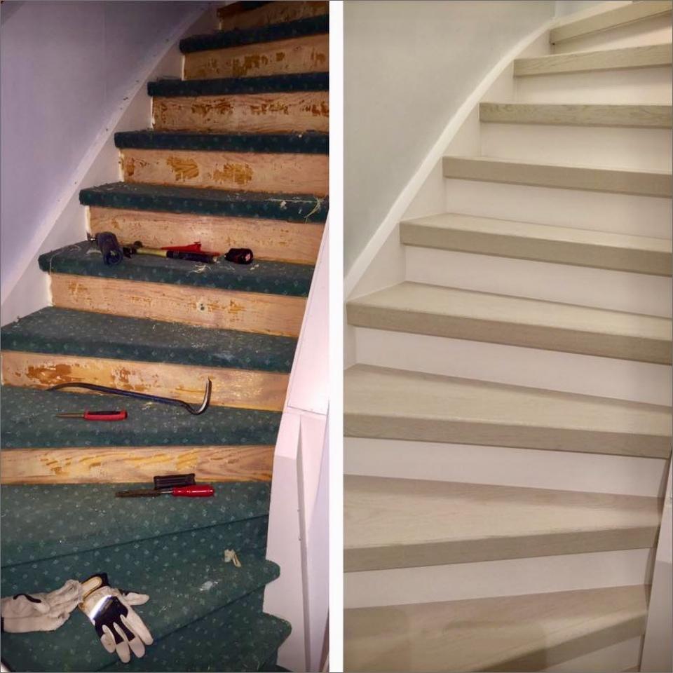 Stängd trappa, vitmålad med steg i vit ask.