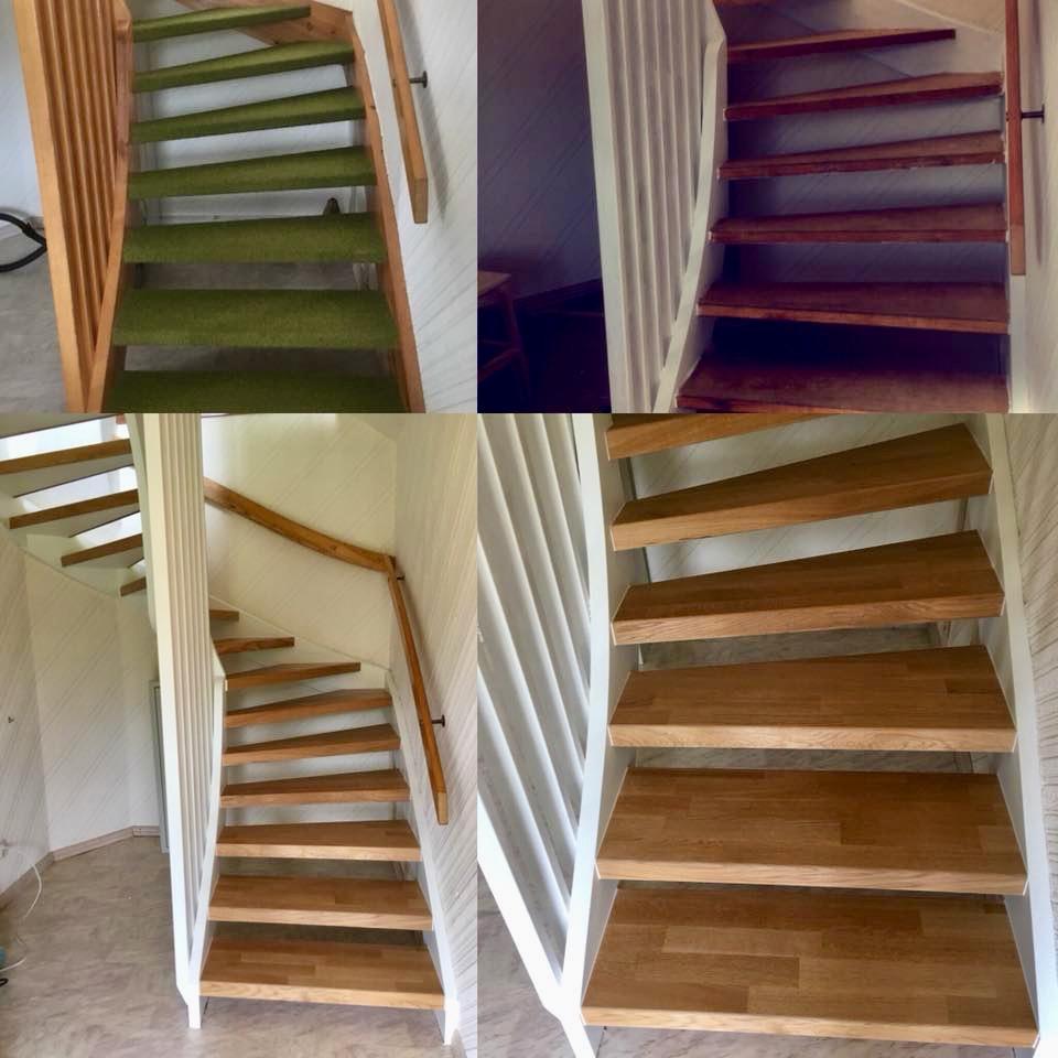 Åpen trapp med trinn i eik 3-stav