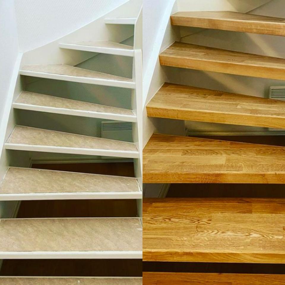Öppen trappa med steg i ek 3-stav